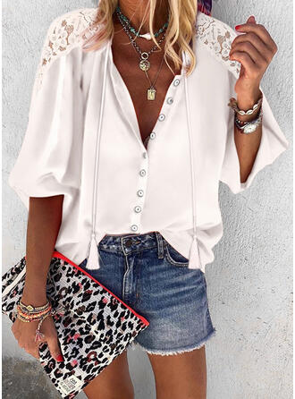 Solid Lace Tassel V-Neck 3/4 Sleeves Button Up Casual Shirt Blouses