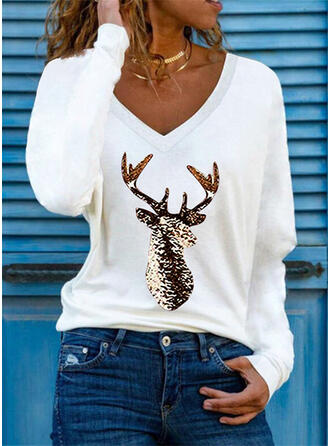 Print Reindeer V-Neck Long Sleeves T-shirts