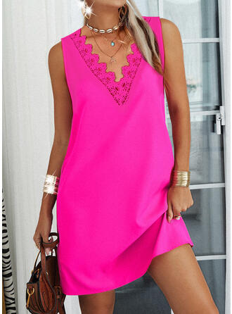 Solid Lace Sleeveless Shift Above Knee Casual Dresses