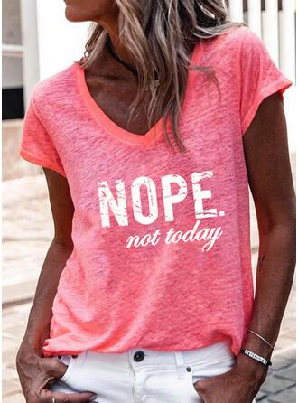 Print Letter V-Neck Short Sleeves T-shirts