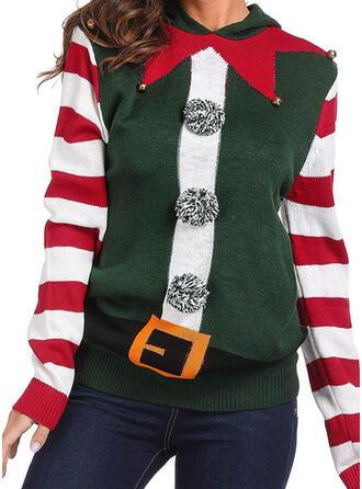 Frauen Polyester gestreift Hässlicher Weihnachtsstrickjacke