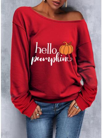 Halloween Print Letter One Shoulder Long Sleeves Sweatshirt