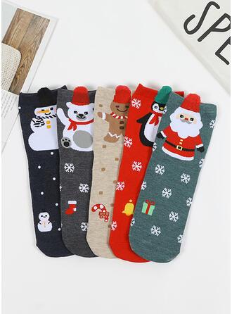 Print Christmas/Ankle Socks Socks (Set of 5)