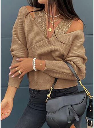 Solid Lace Cold Shoulder Long Sleeves Sweatshirt