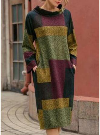 Geblockte Farben Lange Ärmel Shift Knielang Freizeit Tunika Kleider