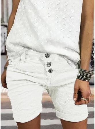 Taschen Shirred Übergröße Über dem Knie Lässige Kleidung Elegant Sexy Kurze Hose