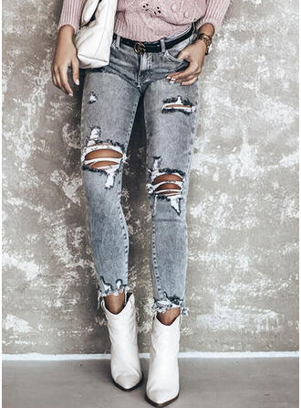 Zerrissen Lange Elegant Sexy Denim Jeans