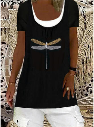 Print Animal Sequins Round Neck Short Sleeves T-shirts