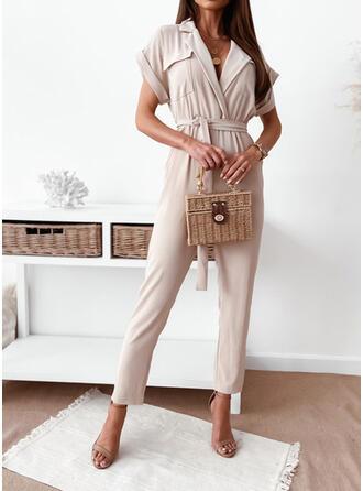 Solid V-Neck Short Sleeves Casual Vintage Jumpsuit