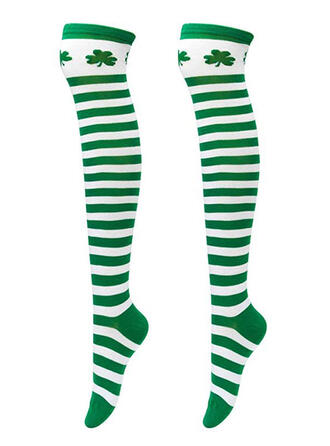 Striped/Leaves Women's/Knee-High Socks/St. Patrick's Day Socks