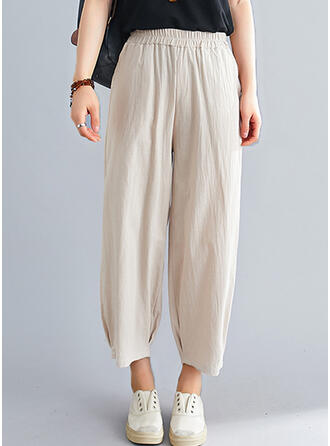 Solid Shirred Casual Plain Lounge Pants