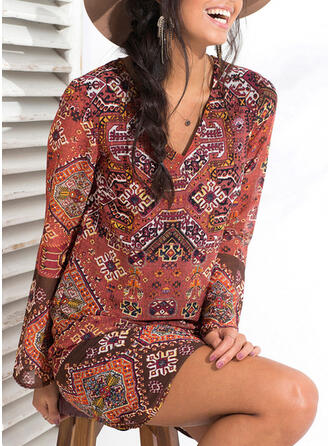 Print Long Sleeves Shift Above Knee Boho Tunic Dresses