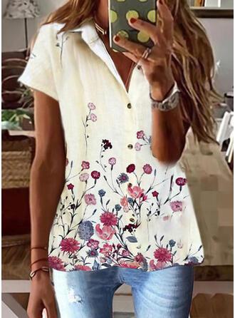 Print Floral Lapel Short Sleeves Cap Sleeve Casual Blouses