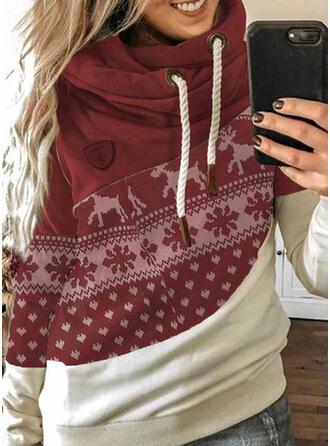 Farbblock Tierdruck Lange Ärmel Weihnachts-Sweatshirt