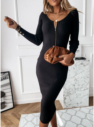 Einfarbig V-Ausschnitt Freizeit Eng Pulloverkleid