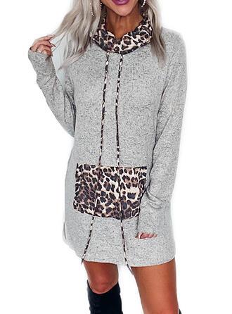 Leopard Lange Ärmel Shift Über dem Knie Freizeit Sweatshirt Kleider