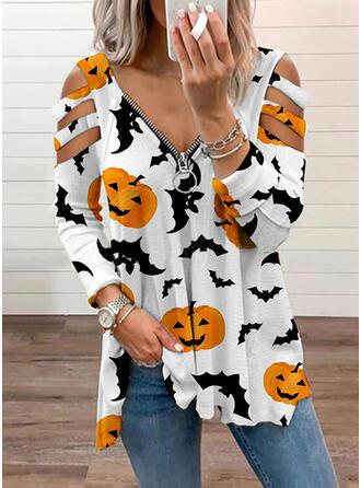 Halloween Print Animal Cold Shoulder Long Sleeves T-shirts