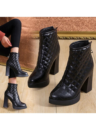 Women's Leatherette Chunky Heel Ankle Boots Round Toe With Zipper Solid Color shoes