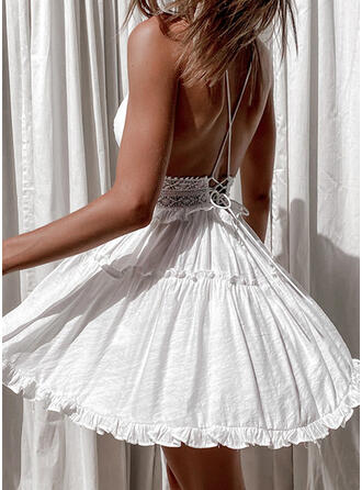 Lace/Solid/Backless Sleeveless A-line Above Knee Vacation Skater Dresses