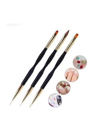 3 PCS Simple Classic Nail Art Brush