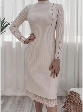 Spitze/Einfarbig Lange Ärmel Etui Pullover Freizeit Midi Kleider