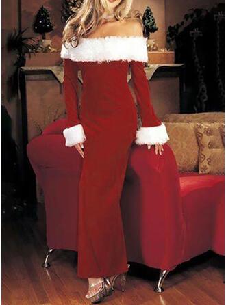 Einfarbig Lange Ärmel Etui Weihnachten/Party Maxi Kleider