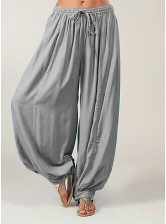 Taschen Shirred Übergröße Lange Boho Lässige Kleidung Hosen