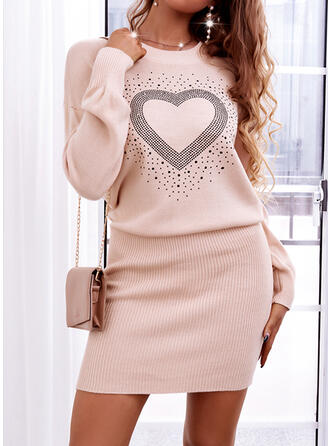 Print/Heart Long Sleeves Dropped Shoulder Sheath Above Knee Casual Sweater Dresses