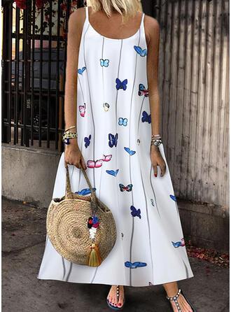 Print/Animal Print Sleeveless Shift Slip Casual/Vacation Maxi Dresses