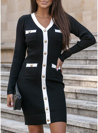 Color Block Knit Long Sleeves Bodycon Above Knee Elegant Sweater Dresses
