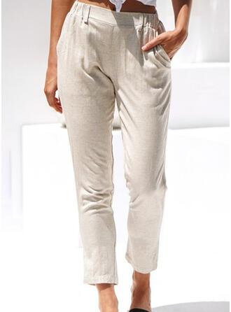 Taschen Shirred Lange Lässige Kleidung Elegant Hosen