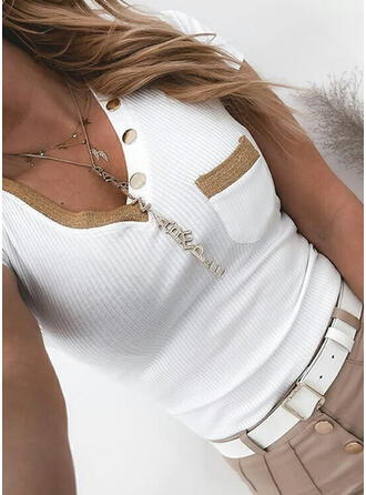 Solid V-Neck Short Sleeves Button Up Casual Knit Blouses