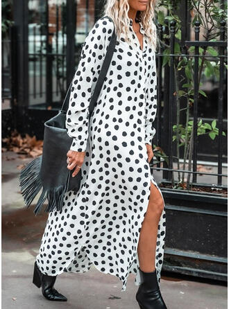 Print/PolkaDot Long Sleeves Shift Shirt Casual Maxi Dresses