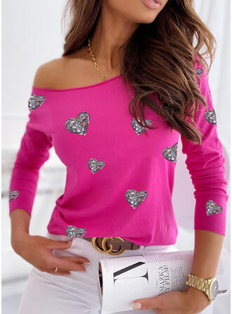 Heart Sequins Round Neck Long Sleeves T-shirts