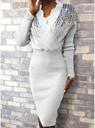 Pailletten Lange Ärmel Figurbetont Knielang Freizeit/Elegant Pullover Kleider