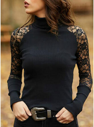 Solid Lace Stand collar Long Sleeves Casual Elegant Knit Blouses