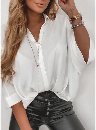 Solid Lapel 3/4 Sleeves Casual Shirt Blouses