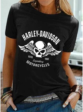 Figur Druck Rundhalsausschnitt Kurze Ärmel T-Shirts