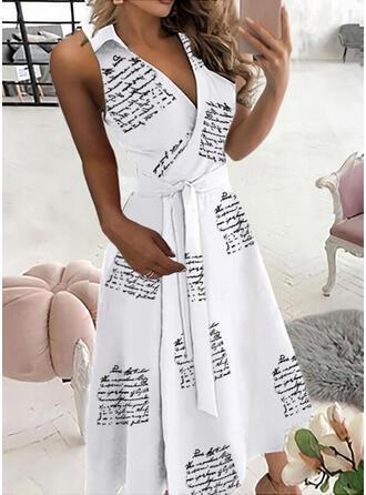 Print/Letter Sleeveless A-line Wrap/Skater Casual Midi Dresses