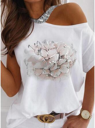 Print Floral Sequins One-Shoulder Short Sleeves Casual Blouses