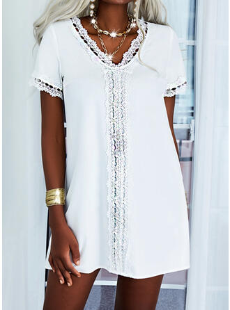 Solid Lace Short Sleeves Shift Above Knee Casual/Elegant Tunic Dresses