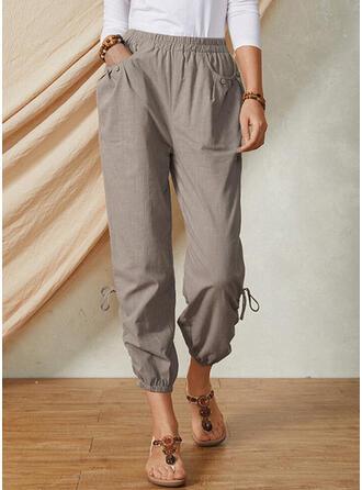 Shirred Drawstring Casual Solid Lounge Pants