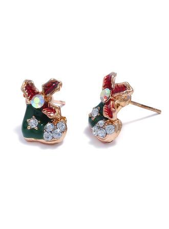 Einfache Weihnachten Legierung mit Strasssteine Ohrringe 2 STÜCK