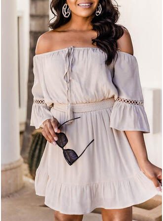 Solid 3/4 Sleeves/Flare Sleeves A-line Above Knee Casual Skater Dresses