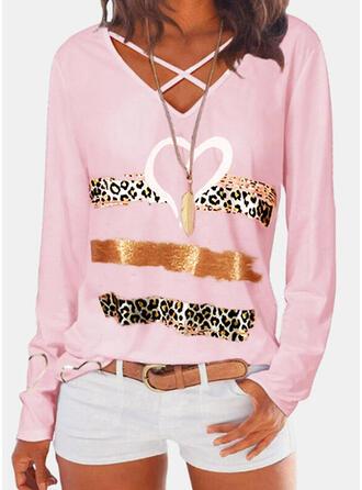 Print Leopard Heart V-Neck Long Sleeves Casual Blouses