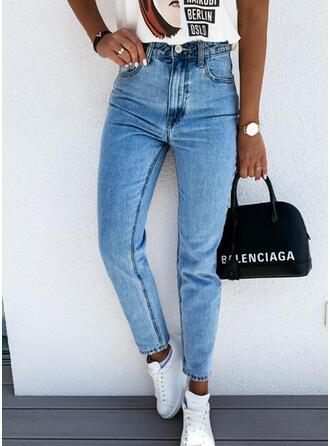 Pockets Solid Denim Denim & Jeans