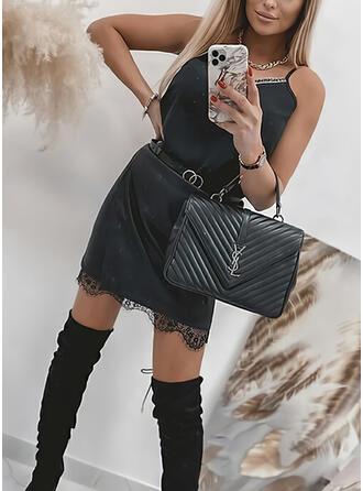 Lace/Solid Sleeveless Sheath Above Knee Little Black/Casual Slip Dresses