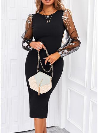 Print Lace/Sequins Long Sleeves Sheath Knee Length Elegant Dresses