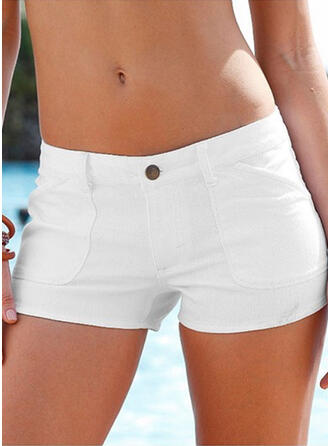 Solid Plus Size Sexy Plain Shorts