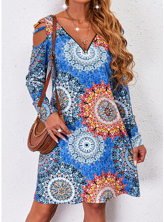 Print Long Sleeves Cold Shoulder Sleeve Shift Knee Length Casual Tunic Dresses